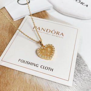 🎆NWT Pandora Golden Love Heart Chain Necklace